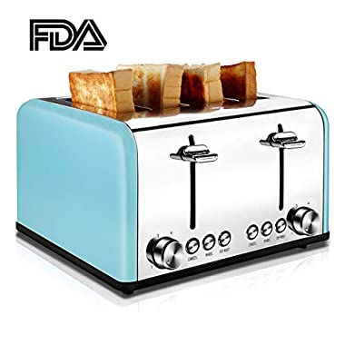 4 Slice Toaster, CUSIBOX Extra Wide Slots Toasters Stainless Steel with 6 Bread Browning Settings, BAGEL/DEFROST/CANCEL Function, 1650W, Blue