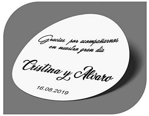 CrisPhy Pegatinas Personalizadas Boda con Nombre y Fecha, Etiquetas Adhesivas para Invitacion Boda Bautizo Compromiso Cumpleaños Fiesta Navidad Vintage Sellos