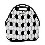 ADONINELP Bolsa de almuerzo portátil,bolsa Bento,textura de fútbol blanco y negro,paquete de neopreno con cremallera para la escuela,trabajo,oficina,bolso de viaje