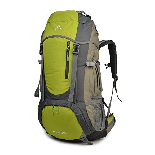 TOFINE External Frame Hiking Backpack with Rainfly 60L Waterproof Nylon Raincover (Green)