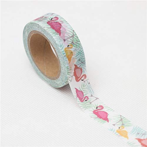 ZXWDL 15 mm x 10 m I mooie flamingo's Washi Band knutselen scrapbooking zelfklevende etiketten masking tape school kantoorbenodigdheden geschenk schrijfwaren