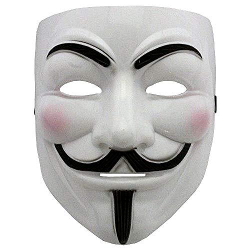 Maschera - Colore Bianco - Carnevale - Halloween - Donna - Uomo - V per Vendetta - Guy Fawkes - Film - Famoso - Anonymous - Idea Regalo per Natale e Compleanno