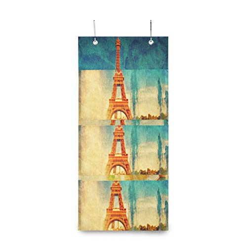 SHNUFHBD 4 Grids Wall Hanging Storage Bags,Eiffel Tower at Jardins Vector Storage Bag Over The DoorBag with 2 Easy Access Durable Metal Hooks,Space Saver Bags Suitable for Living Room, Bedroom, Etc