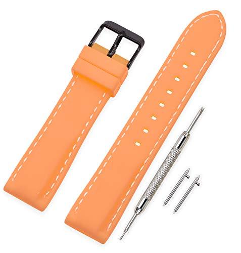 Vinband Correa Reloj Quick Release Recambios Correa Relojes Caucho - 18mm, 20mm, 22mm, 24mm Silicona Correa Reloj con Hebilla de Acero Inoxidable Cepillado (24mm, Orange)