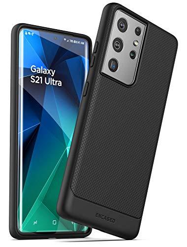 Encased Designed for Samsung Galaxy S21 Ultra Case (Thin Armor) Slim Flexible Grip Phone Cover (Black)