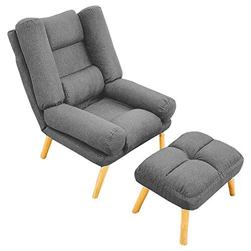 Selly Home Sessel mit Ergonomischer Hocker - Relaxsessel Angenehmes Stoff mit Liegefunktion - Entspannung Ohrensessel mit Hocker - Fernsehsessel mit Fußstütze - Lounge Stressless Sessel – Hellgrau