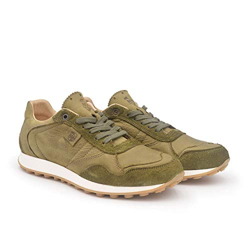 Merlin Kaki 41 EU- Sneaker de Piel cómodo para Hombre - Plantilla extraíble y recambiable - Piel ecológica sin Cromo - Moda sostenible