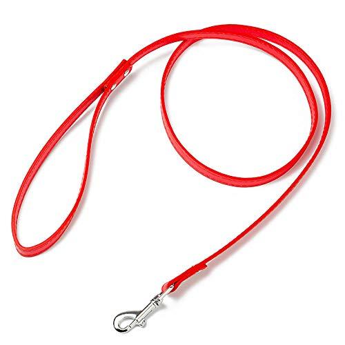 Correas básicas para Perros Accesorios para Perros de 7 Colores PU Correa de Perro Elástica Cómoda Perros pequeños medianos Productos para Mascotas-Rojo_2.0