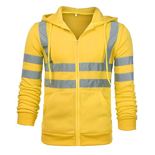Sweatshirt Mens Motorcycle Reflective Road High Visibility Pullover Casual Long Sleeve Hooded Zipper Pocket Streetwear (Color : Yellow)