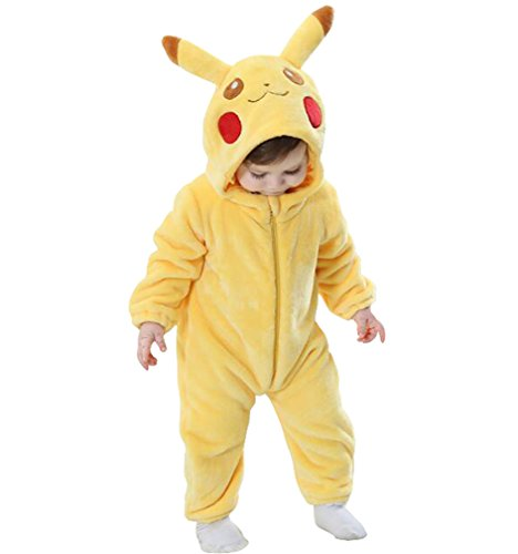 Unisex-Baby Animal Flannel Cartoon Romper Animal Outfits Yellow