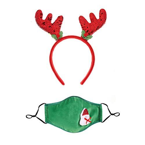Inspire Masks Reusable Adjustable Face Mask and Headband Set (Holiday - Christmas)