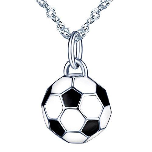 Yumilok Collares Mujer Niña Hombre, Moda Collares de S925 Plata con Colgante Fútbol