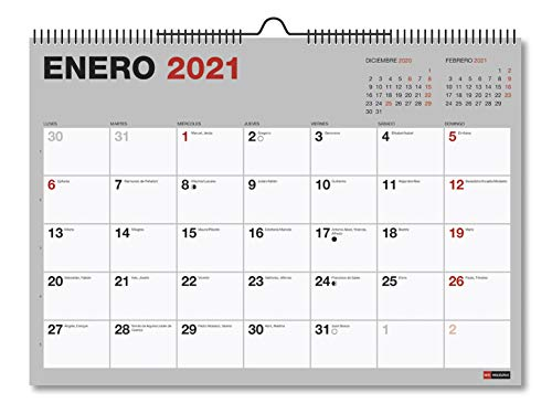 MIQUELRIUS - Calendario de Pared 2021 Básico - Castellano, 296 x 210 mm (A4) con espacio para escribir y apuntar, Color Gris