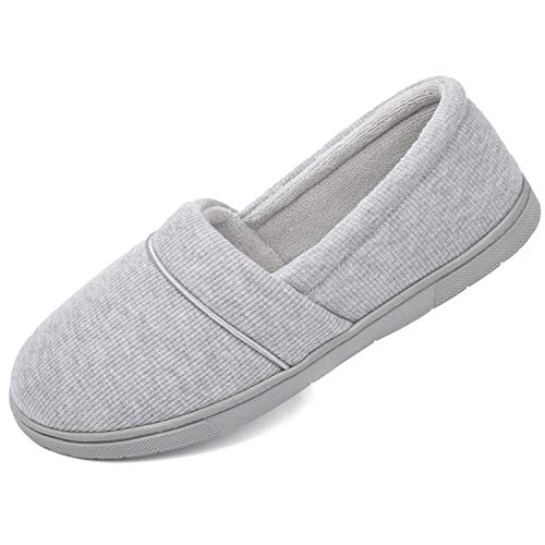 ULTRAIDEAS Women's Comfy Memory Foam Knit Slippers, Ladies' Plush Terry Lining Loafer Lightweight House Shoes with Indoor Outdoor Anti-Skid Rubber Sole (X-Large / 11-12, Light Grey)