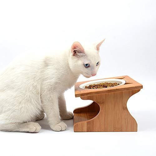 Petsoigné Cuenco para Gatos Perros Elevado Comedero Gato Perro en Cerámica/Acero Inoxidable con Soporte de Madera (Altura Ajustable, Cerámica)