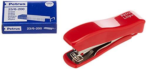 PETRUS 44767 - Grapadora modelo Liliput 200 + 1 Caja grapas 23/6-200 colores surtidos (en blister)