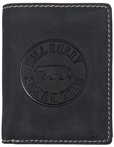 BelleBay Hill Burry Geldbörse Herren Leder   Großes Portemonnaie aus echtem Leder   Hochwertiger Geldbeutel mit RFID-Schutz - Hochformat (Schwarz)