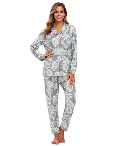Conjunto De Pijamas para Mujer, Ropa De Dormir con Botones De Manga Larga, Ropa De Dormir Suave para Mujer, Pijamas para Mujer