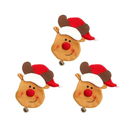 Happyyami 3pcs Weihnachten Rentier Geschirr Halter Besteck Halter Taschen Messer und Gabel Taschen Weihnachten Tischdekoration