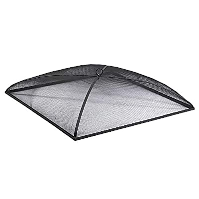 Sunnydaze Fire Pit Spark Screen Cover - Outdoor Heavy Duty Steel Square Firepit Lid Protector - Black Metal Mesh Fire Pit Replacement Accessory - 30 Inch