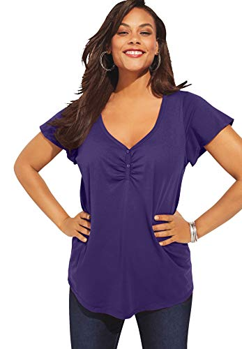 Roamans Women's Plus Size Flutter-Sleeve Sweetheart Ultimate Tee Long T-Shirt Top - 34/36, Midnight Violet