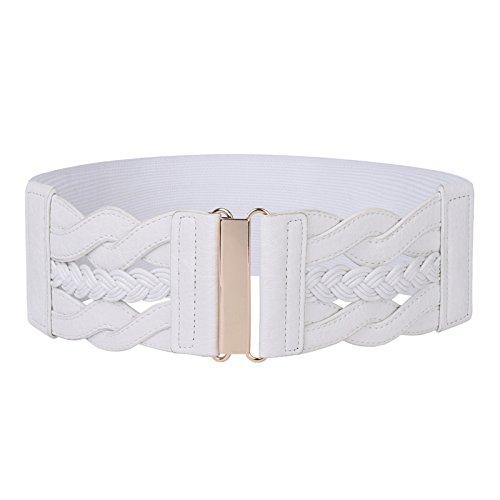 Womens White Wide Elastic Waist Belt Stretch Cinch Belt (White,L)