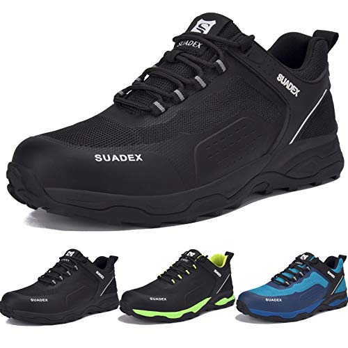 Zapatos de Seguridad para Hombre con Puntera de Acero Zapatillas de Seguridad Trabajo, Calzado de Industrial y Deportiva (Negro,43EU) ⭐