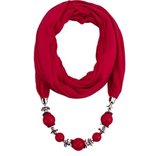 Ciondolo Sciarpa della Collana Boemia Collane di Monili delle Donne Sciarpe del Pendente Poliestere Wrap Foulard Accessori Donna (Vino Rosso)