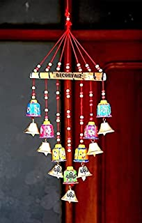 DECORVAIZ Wooden Handcrafted Windchime - 18 inch, Multicolor
