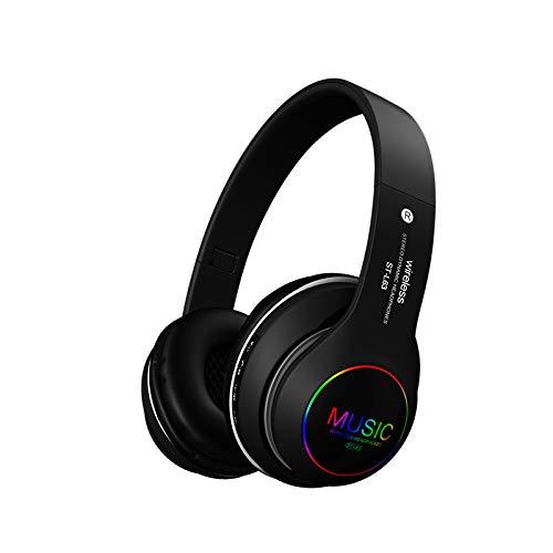 MEISI Bluetooth-Kopfhörer, kabellos, Stereo, faltbar, leuchtendes Gaming-Headset, kabellose Kopfhörer mit Mikrofon und LED-Licht, für Zuhause, Büro, Handy, PC, Tablet