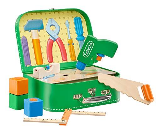 Selecta 62074 Werkzeugkoffer, stabile Werkzeuge aus Holz, 25 x 18 cm