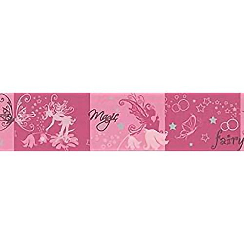 Decoration S.r.l. Bordo in Carta per Bambini con Fatine e Farfalle Che s'illumina al Buio da 5m x 13cm