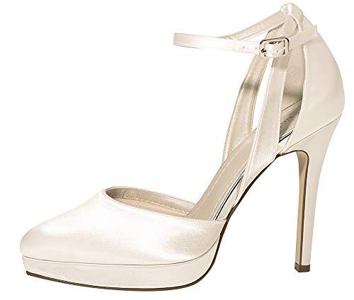 Rainbow Club Brautschuhe Salma - Damen High Heels gepolstert, Ivory/Creme, Satin - Gr. 37 (UK 4)