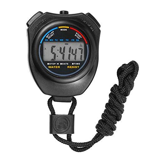 TrifyCore Cronógrafo Digital Cronómetro de Mano LCD Deportes Multifuncional Cronómetro Negro