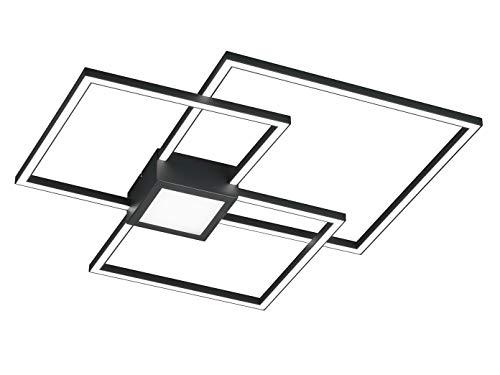 Ausgefallene LED Deckenleuchte mit Switch Dimmer und eckigem Design aus Metall in Anthrazit, 3 flammig