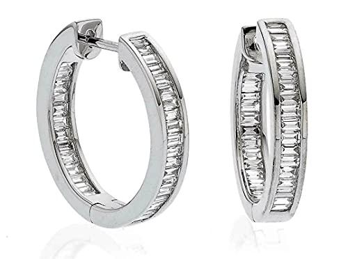 Pendientes de aro de diamantes de talla baguette de 1 quilate en oro blanco de 18 k