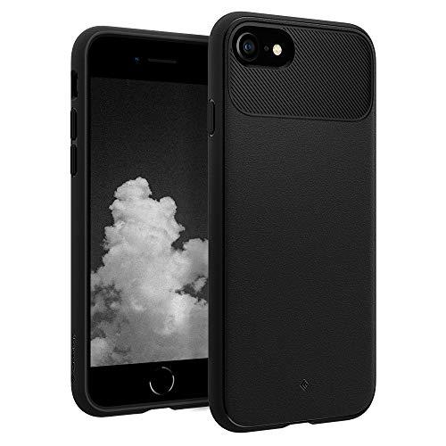 Caseology Vault Cover iPhone SE 2020 / iPhone 8 / iPhone 7, TPU Design in Fibra di Carbonio, Tessitura Arenaria, Custodia per iPhone SE 2020/8/7 (Matte Black, Nera)