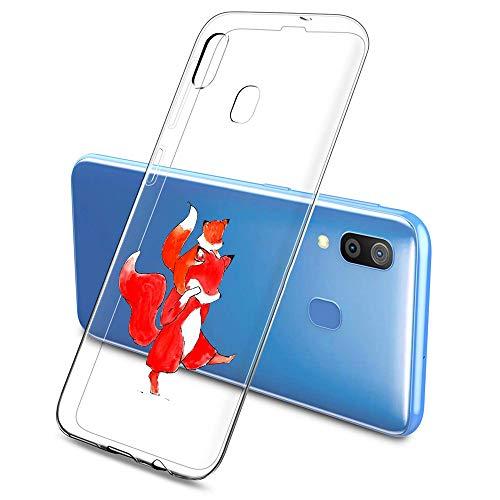 Oihxse Compatible pour Silicone Samsung Galaxy S6 Edge Coque Crystal Transparente TPU Ultra Fine Souple Housse avec Motif [Elephant Lapin] Anti-Rayures Protection Etui (A3)