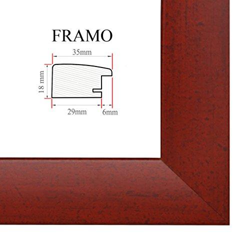 FRAMO 35mm Cadre Photo sur Mesure 42 x 60 cm (Rouge Flou), Cadre Fait Main en MDF doté d'Un Verre synthétique antireflet, Largeur du Cadre : 35 mm, Dimensions extérieures : 47,8 x 65,8 cm