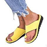 DOTBUY Damen Sandalen Sommer Plattform Sandale Schuhe, Frauen Bequeme Keilabsatz Elegant PU Leder Big Toe Hallux Valgus Unterstützung Sandale Schuhe Strand Reise Schuhe (CN39=245mm,Gelb)