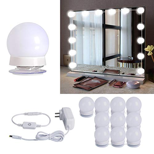 Hollywood Style LED Vanity Mirror Lights Kit with 10 Dimmable Light Bulbs For Makeup Dressing Table and Power Supply Plug in Lighting Fixture Strip – Vanity Mirror Light – White (No Mirror Included)