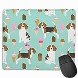 Alfombrilla de ratón Personalizada, Beagle Helado Raza de Perro Verano Postre Comida Menta Alfombrilla de ratón de Goma Antideslizante para Juegos Alfombrilla de ratón Rectangular para Orden