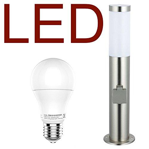 DBLV LED Stand-Außenleuchte mit 2 Steckdosen & LED Leuchtmittel - Wegeleuchte Edelstahl Außenlampe Hoflampe Gartenlampe Gartenleuchte Balkon Rasen [Energieklasse A+]