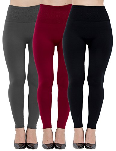 Womens Leggings Fleece Lined-High Waist 3 Pack (Black, Charcoal, Wine) - Basic Elastic Ankle Legging, (One Size)