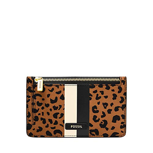 Fossil womens Card Case, Cheetah, 5.43 L x 0.15 W 3.35 H US