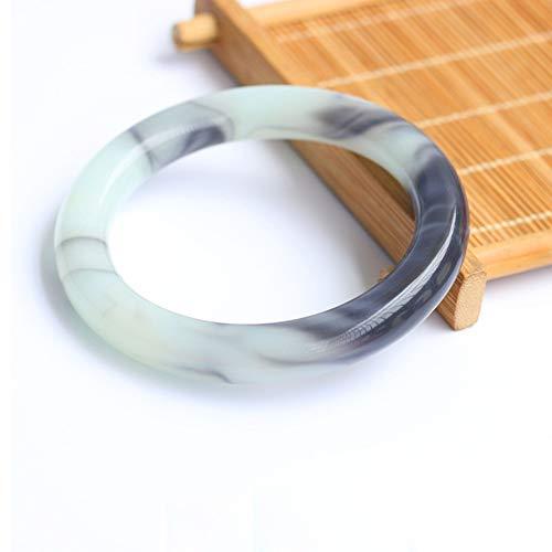 Hotan Jade Armband Blauw En Wit Drijvende Bloem Armband Gold Silk Jade Ronde Bar Jade Armband Ladies Fashion Jewelry Geschikt Voor Gift Collection,inner diameter 58 to 60mm