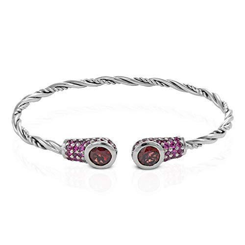 925 Sterling Silver Engraved Hinged Bangle Bracelet with Safety Chain 6.6 mm