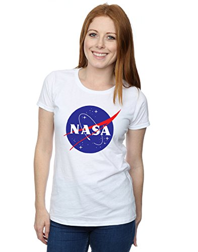 Nasa Mujer Classic Insignia Logo Camiseta Small Blanco