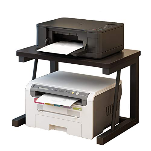 CYUUEU プリンター台 プリンターラック 木製 卓上、机上、机下台 机上収納 机上ラック 幅57cm×奥行34cm×高さ38cm 各棚板の耐荷重25kg オフィス 家庭用