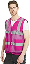 TOPTIE Unisex US Big Mesh Volunteer Vest Zipper Front High Visibility Vest with Reflective Strips and Pockets